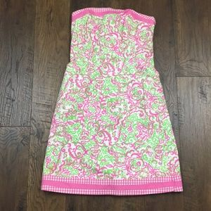 Lilly Pulitzer floral gingham trim strapless dress